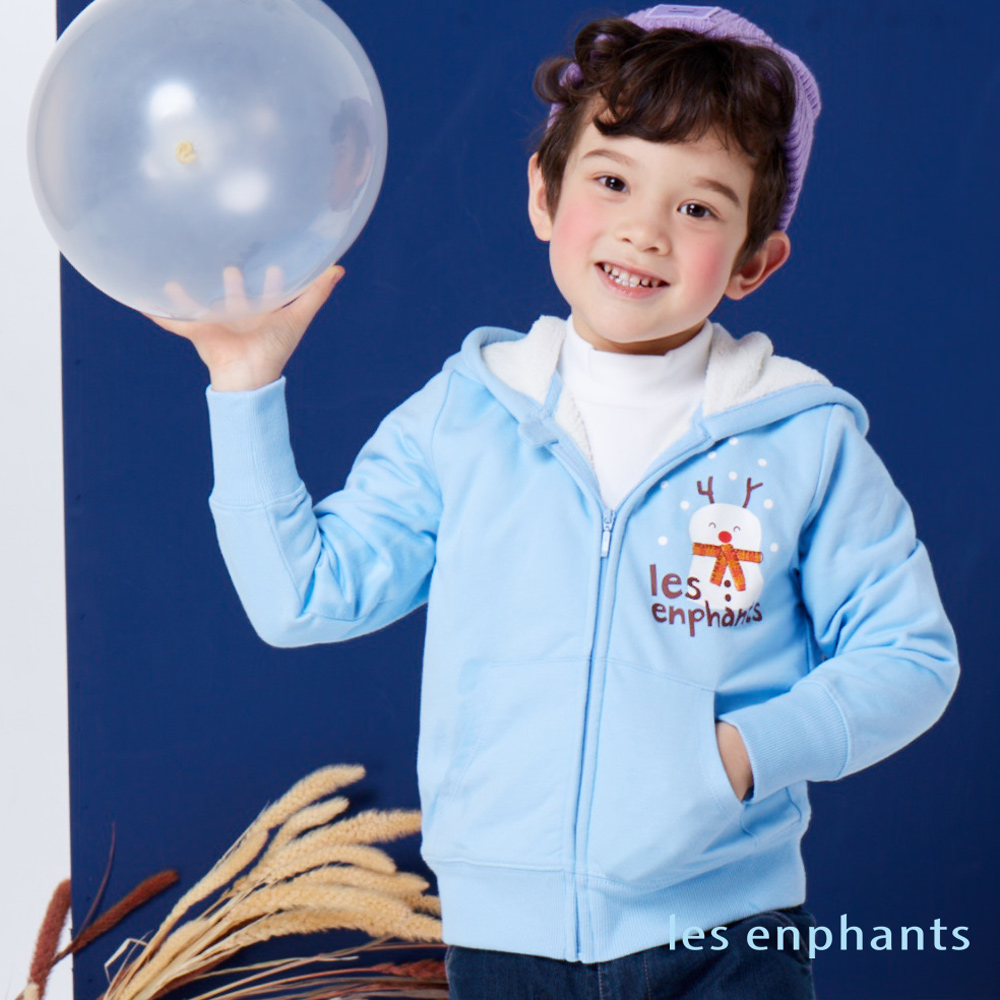 麗嬰房les enphants繽紛動物園內毛絨連帽外套藍色