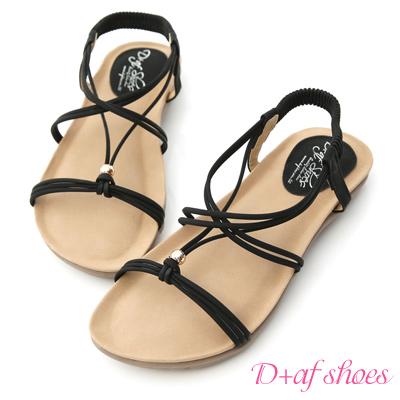 D-AF-輕夏時光-交叉細繩串珠平底涼鞋-黑
