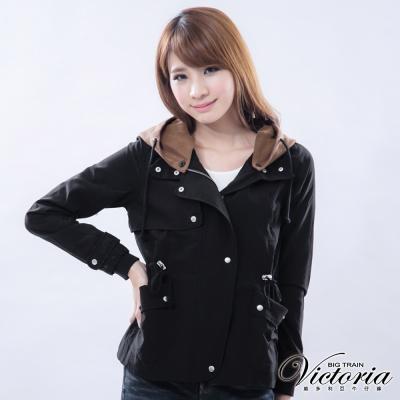 Victoria 可拆帽桃皮布外套-女-黑