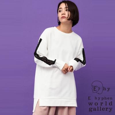 E hyphen 袖蕾絲簍空側開衩長版上衣/洋裝