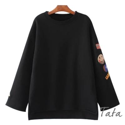 薄絨圓領衣袖刺繡棉質上衣 共二色 TATA