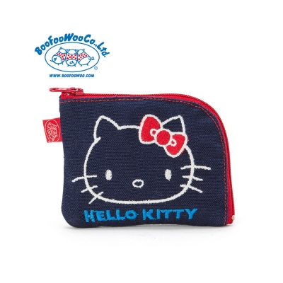 Sanrio HELLO KITTY*BOOFOOWOO刺繡帆布零錢包(藍-大臉)