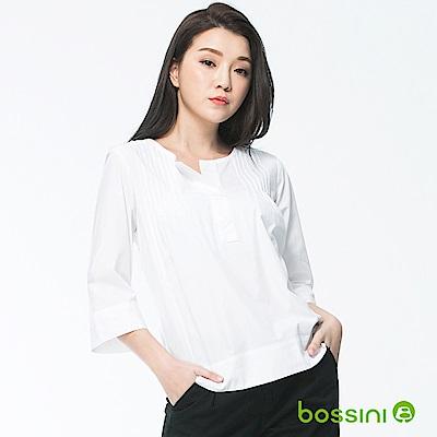 bossini女裝-七分袖造型襯衫08白