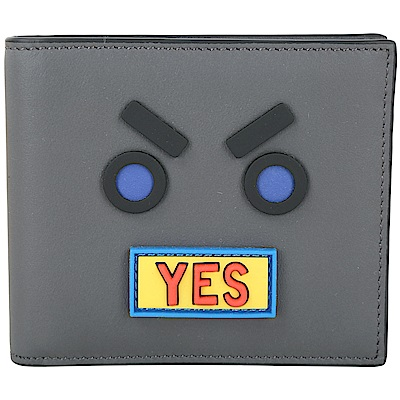 FENDI YES FACE 拼色表情圖案對折短夾(灰色)