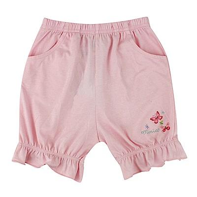 愛的世界 MYBABY 純棉鬆緊帶荷葉束口五分褲-粉/6M~2歲