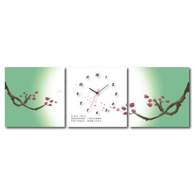 美學365 - 三聯式無框藝術掛畫時鐘-魚餘40x40cm