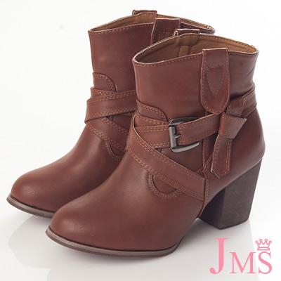 ☆JMS☆正韓風質感粗高跟短靴-咖啡色