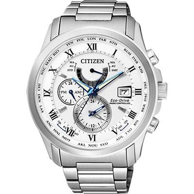 CITIZEN 光動能電波萬年曆腕錶(AT9080-57A)-白/43mm