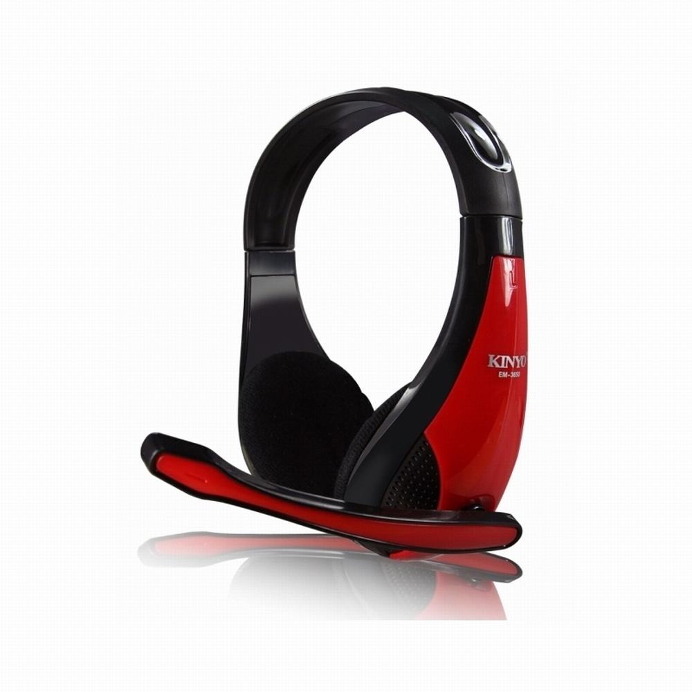 KINYO雙插頭電腦頭戴式耳麥EM-3650加贈滑鼠墊MP-230