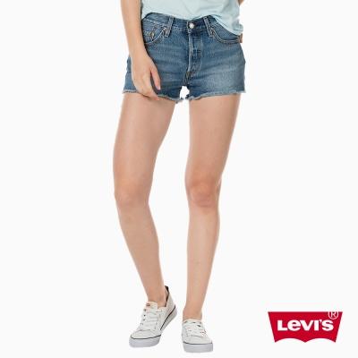 Levis 女款 牛仔短褲 501 中腰直筒 排扣 不收邊