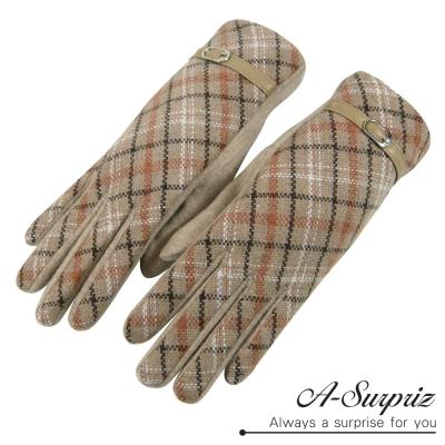 A-Surpriz 典雅格紋皮革扣環羊毛手套(駝)