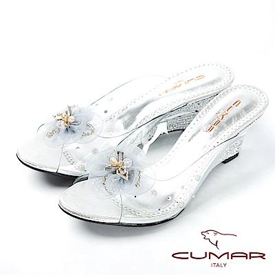 CUMAR仙杜瑞拉-裸肌美腳楔形跟玻璃鞋-銀