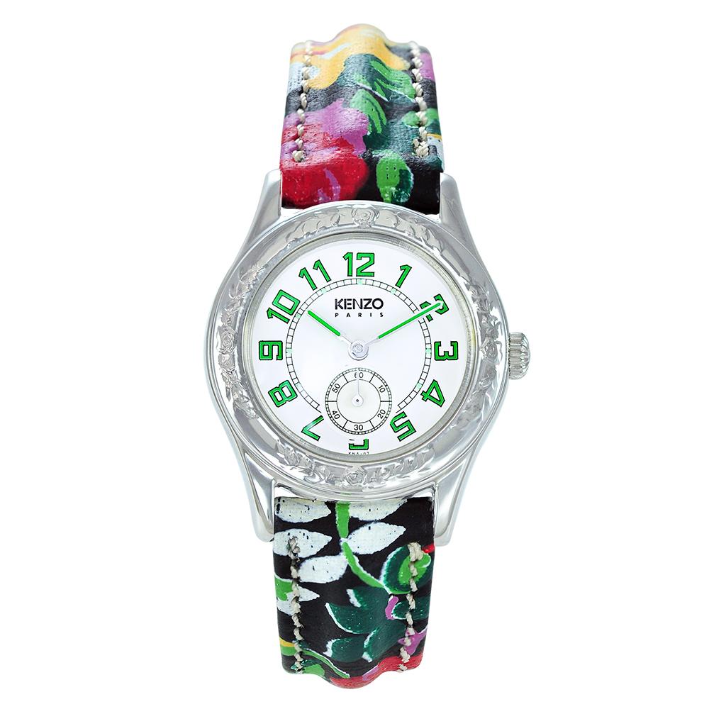 KENZO 艷麗四射之花樣年華腕錶-樹葉綠刻度/26mm(福利品)