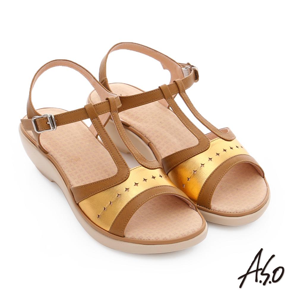 A.S.O 挺麗氣墊 全真皮寬楦鏤空氣墊楔型涼拖鞋 茶色