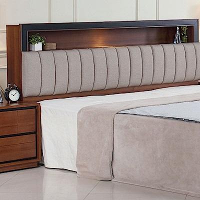 品家居 維莉5尺亞麻布實木雙人床頭片-154x29x108cm免組