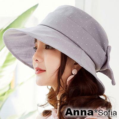 【滿額再75折】AnnaSofia 水玉點點俏結 遮陽防曬漁夫帽盆帽(雅灰系)