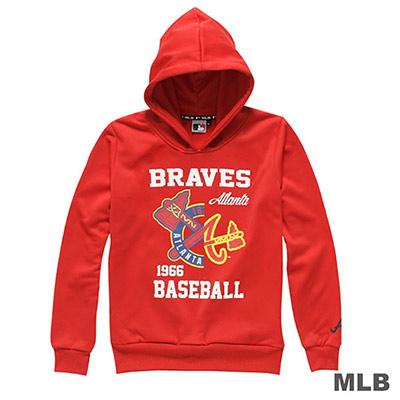 MLB-亞特蘭大勇士隊分割LOGO印花連帽長袖厚T恤-紅 (女)