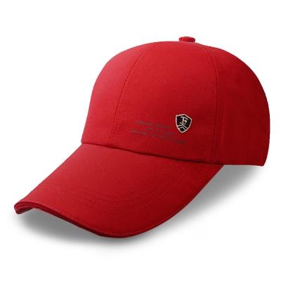 活力揚邑 防曬防紫外線防風戶外運動透氣鴨舌帽盾形F刺繡棒球帽-紅