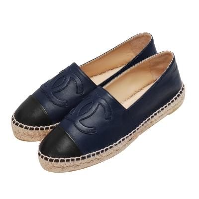 CHANEL 經典Espadrilles小香LOGO小羊皮厚底鉛筆鞋(深藍X黑)