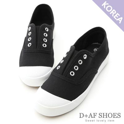 D+AF 活力自在.奶油頭無綁帶休閒帆布鞋*黑