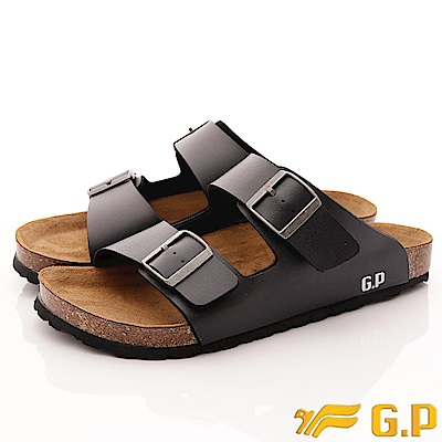 GP時尚涼拖-皮質休閒軟木涼拖鞋-341-10黑(男段)