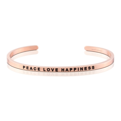 MANTRABAND 美國悄悄話手環 Peace Love Happiness 玫瑰金