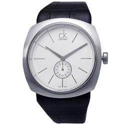 cK 大面徑獨立秒針皮帶腕錶-白
