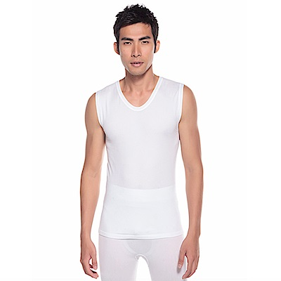zuzai 自在發熱衣親膚羽感無袖保暖衣-男-白色