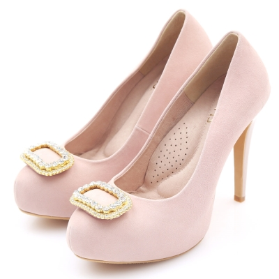 G.Ms. MIT花嫁系列-羊皮水鑽方釦厚底高跟鞋-名媛粉