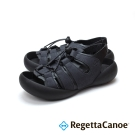 RegettaCanoe-異材質撞色扣帶 可調式樂步鞋-經典黑