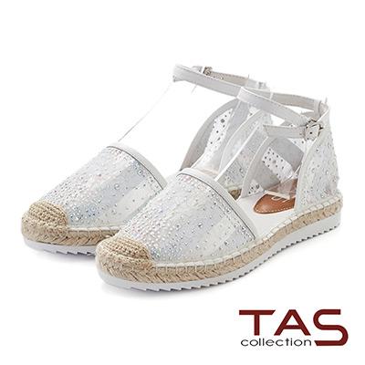 TAS 水鑽蕾絲踝繫帶草編涼鞋-焦點白