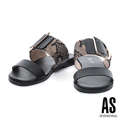 拖鞋 AS 蛇紋異材質拼接金屬釦平行繫帶拖鞋-黑