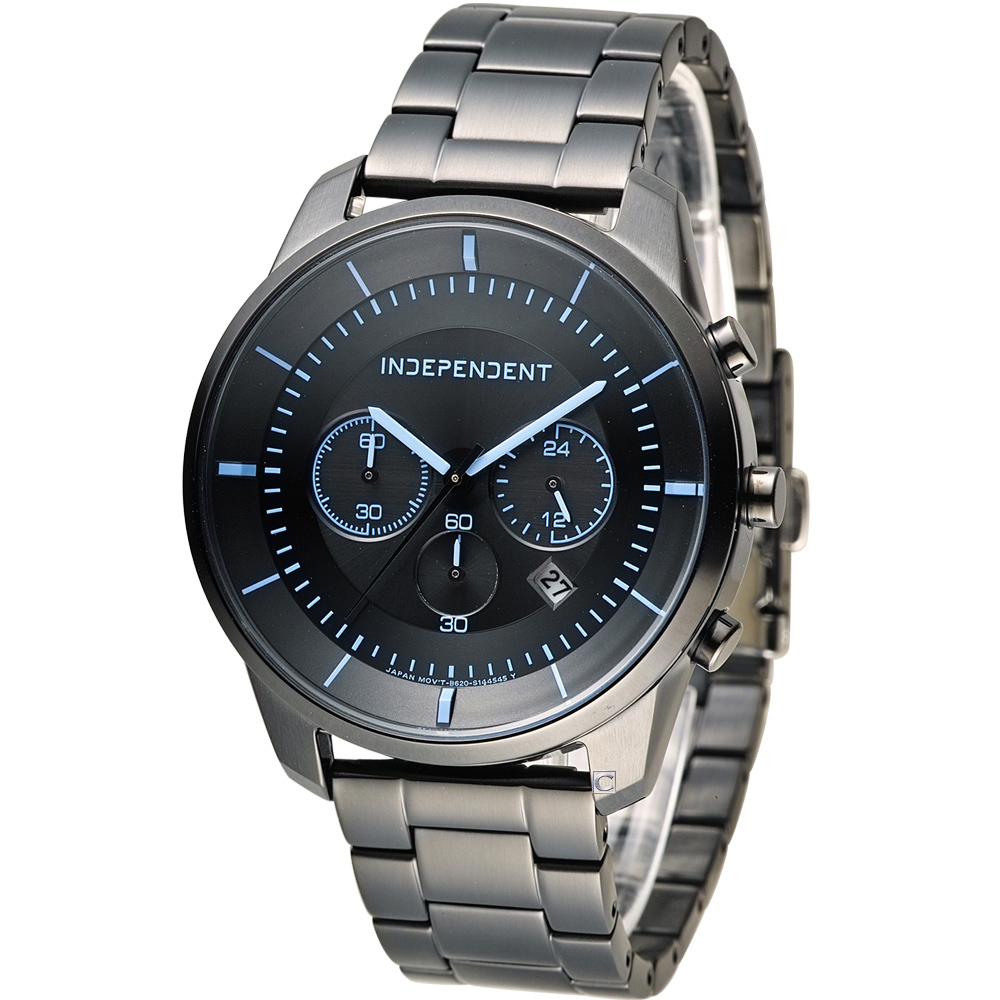 INDEPENDENT 潮流玩酷炫彩計時腕錶-黑x藍/42mm