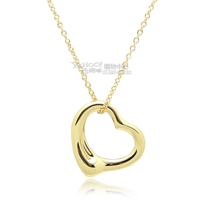 Tiffany&Co. Open Heart 18K金 愛心墜飾項鍊-16mm