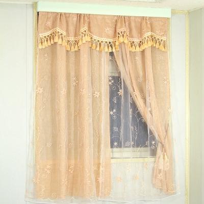 布安於室-奧麗嘉刺繡雙層穿管式窗簾
