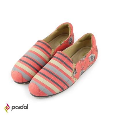 Paidal絢麗花繪條紋平底休閒鞋樂福鞋-淺灰粉