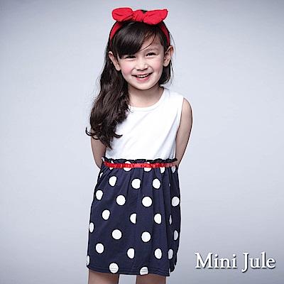Mini Jule 童裝-洋裝 大圓點拼接純色無袖洋裝(白)