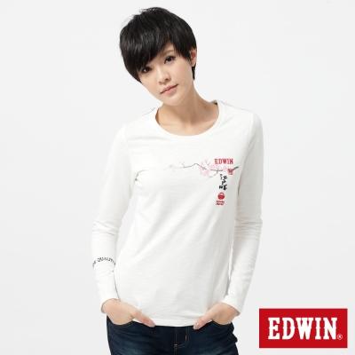 EDWIN-T恤-江戶勝限量富士山櫻花T恤-女-米白