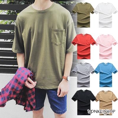 Monkey Shop 正韓經典素面口袋落肩款棉質短袖T恤-10色