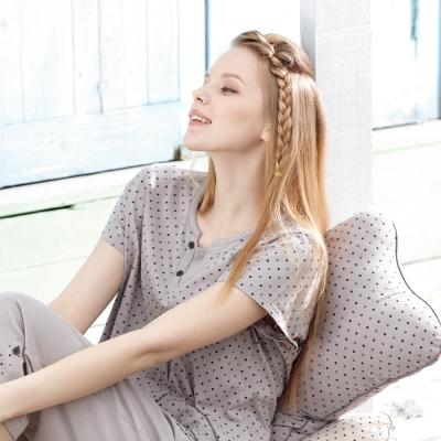 羅絲美睡衣 - 點點甜心純棉短袖褲裝睡衣(氣質灰)