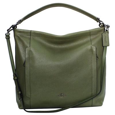 COACH橄欖綠荔枝紋全皮前暗袋肩背-斜背兩用方包