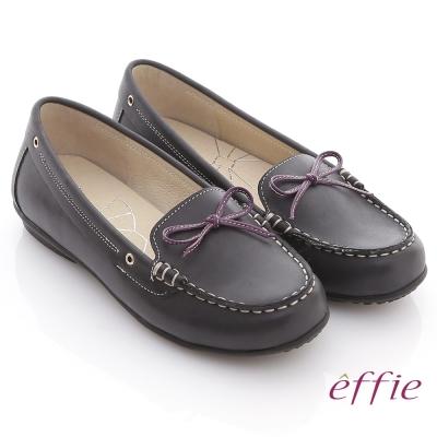 effie 俏麗樂活 全真皮撞色細蝴蝶結平底鞋 黑