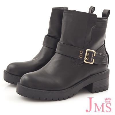 JMS-男友風斜皮帶扣環厚底軍裝工程短靴-黑色