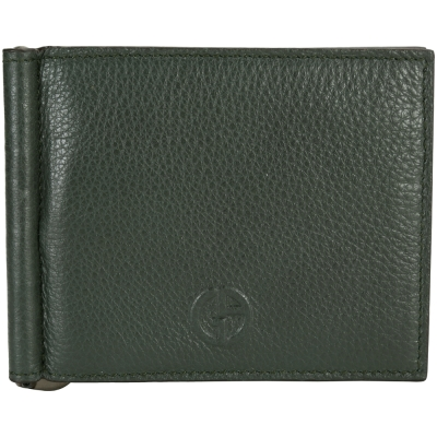 GIORGIO ARMANI 六卡對折皮夾(深綠色)