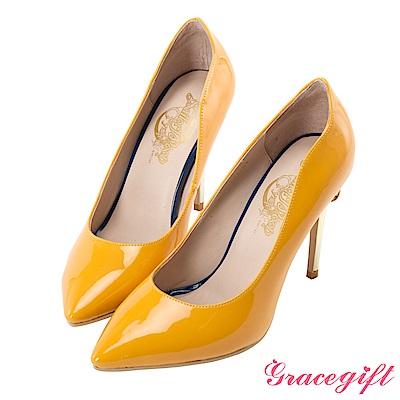 Grace gift-美少女戰士變身器漆皮細高跟鞋 黃