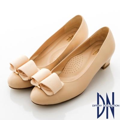 DN-通勤首選-MIT魅力羊皮素面蝴蝶結跟鞋-裸