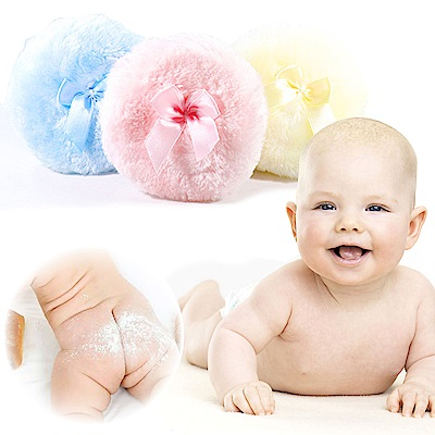 kiret 寶寶 嬰兒粉撲 蝴蝶結 棉柔 緞帶大粉撲  -多色隨機