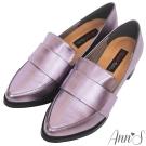 Ann'S時髦復古-韓系粗跟紳士休閒便鞋-灰紫