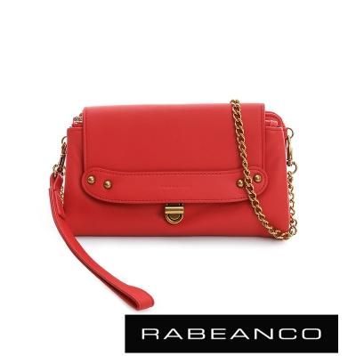 RABEANCO-迷時尚牛皮系列多卡層拉鍊手拎包長夾-紅