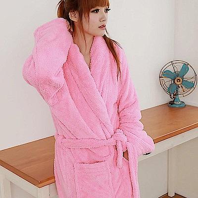 米夢家居-台灣製造水乾乾SUMEASY開纖吸水紗-柔膚浴袍(粉紅)
